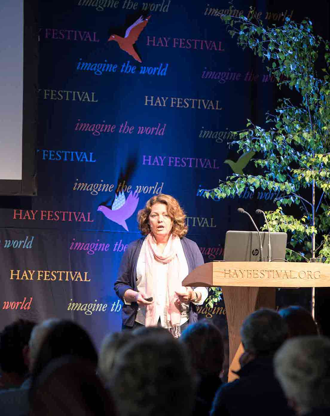 Caroline Ingraham Speaking At The Hay Festival In 2016